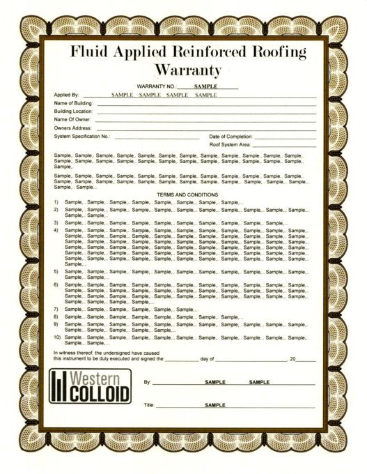 Fluid Applied Reinforced Roofing Warranty